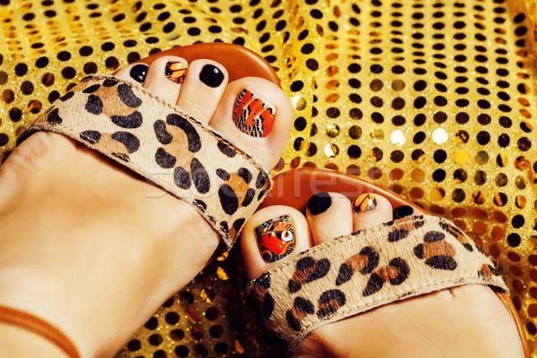 Foto pedicure zoals vlinder ontwerp goud Stockfoto © iordani