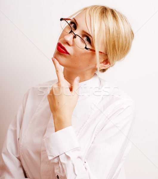 very emotional businesswoman in glasses, blond hair on white background Stock photo © iordani