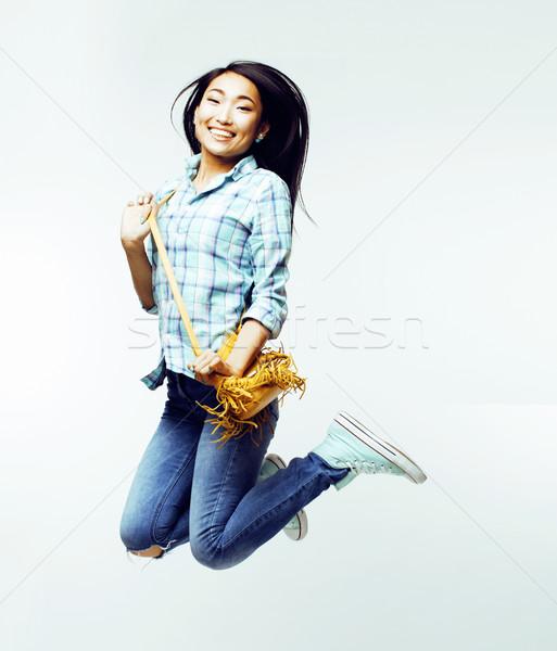 Stock fotó: Fiatal · csinos · ugrik · ázsiai · nő · pózol
