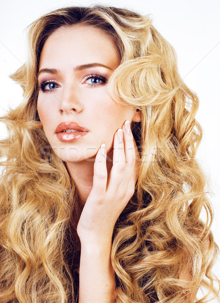 beauty blond woman with long curly hair close up isolated, hairs Stock photo © iordani