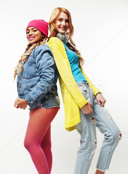 diverse nation girls group, two diverse rase teenage friends company cheerful having fun, happy smil Stock photo © iordani