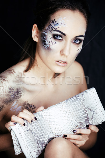 fashion portrait of pretty young woman with creative make up lik Stock photo © iordani