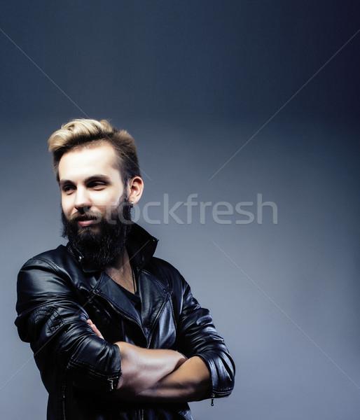 Portré fiatal szakállas hipszter fickó szürke Stock fotó © iordani