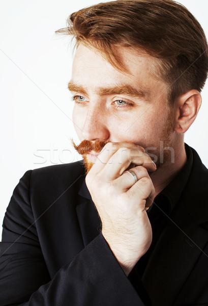Genç adam sakal bıyık siyah takım elbise Stok fotoğraf © iordani