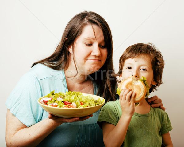 Olgun kadın salata küçük sevimli erkek Stok fotoğraf © iordani