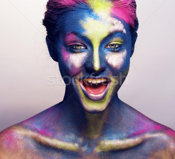 Schoonheid vrouw creatieve make-up zoals heilig Stockfoto © iordani