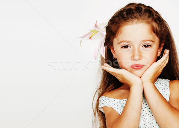 little cute spring girl in fancy dress isolated on white background, fashion stylish kid, lifestyle  Stock photo © iordani
