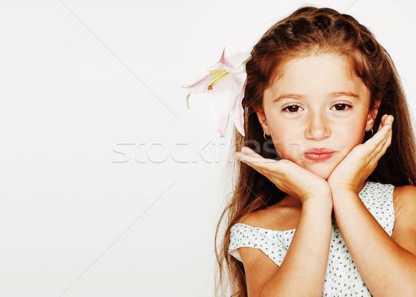 Kicsi aranyos tavasz lány jelmez izolált Stock fotó © iordani