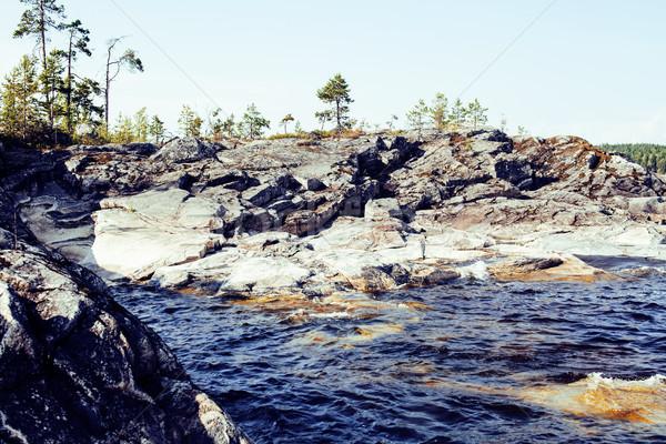 Kuzey doğa manzara kayalar göl Stok fotoğraf © iordani