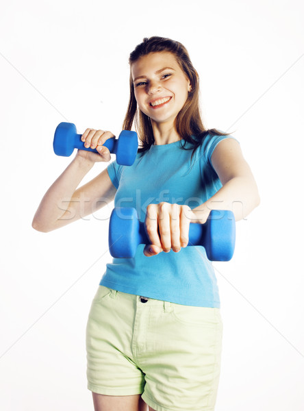 young pretty slim woman with dumbbell isolated cheerful smiling, real sport girl next door, lifestyl Stock photo © iordani