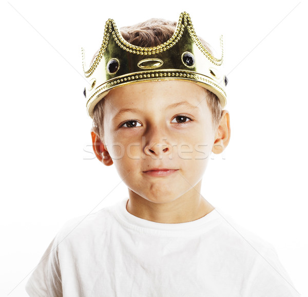 Foto stock: Pequeno · bonitinho · menino · coroa · isolado