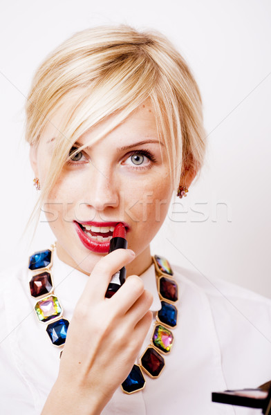 young pretty blond woman with red lipstick looking in camera, lifestyle people concept Stock photo © iordani