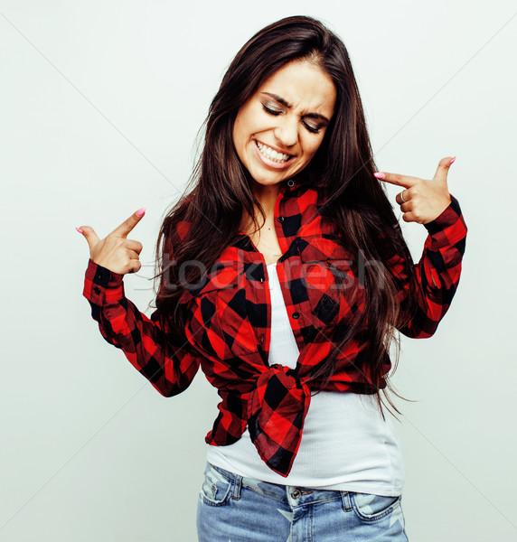 Jonge gelukkig glimlachend amerikaanse tienermeisje Stockfoto © iordani