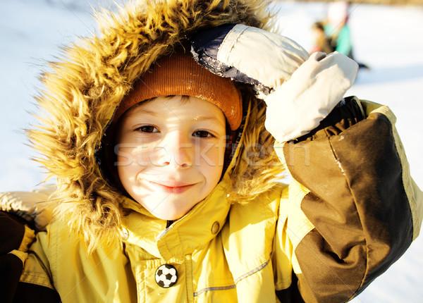 Mały cute chłopca futra śniegu na zewnątrz Zdjęcia stock © iordani