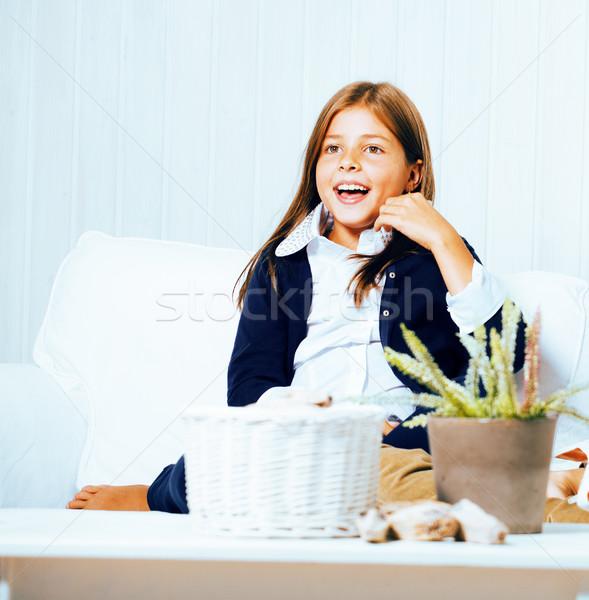 Kicsi aranyos barna hajú lány otthon belső Stock fotó © iordani