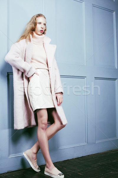 young blonde teenage girl in fur coat, fashion dressed model, st Stock photo © iordani