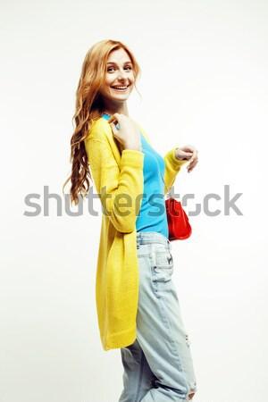 Fiatal csinos vörös haj nő boldog mosolyog Stock fotó © iordani
