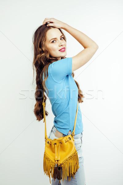 Fiatal csinos hosszú haj nő boldog mosolyog Stock fotó © iordani