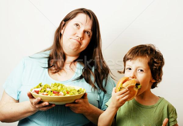 ストックフォト: 成熟した女性 · サラダ · かわいい · 少年
