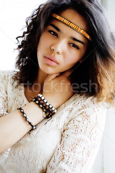 adorable black skined african teenage girl dressed like hipster hippie, vintage portrait, lifestyle  Stock photo © iordani