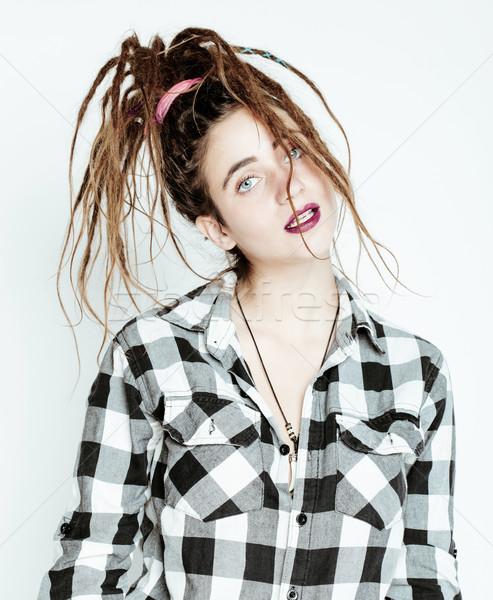 real caucasian woman with dreadlocks hairstyle funny cheerful fa Stock photo © iordani