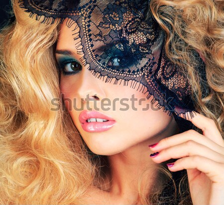 beauty blond woman with gold creative make up, bokeh on yellow background  Stock photo © iordani