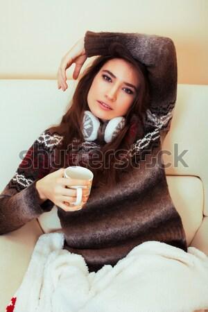 Fiatal csinos barna hajú nő visel szexi Stock fotó © iordani