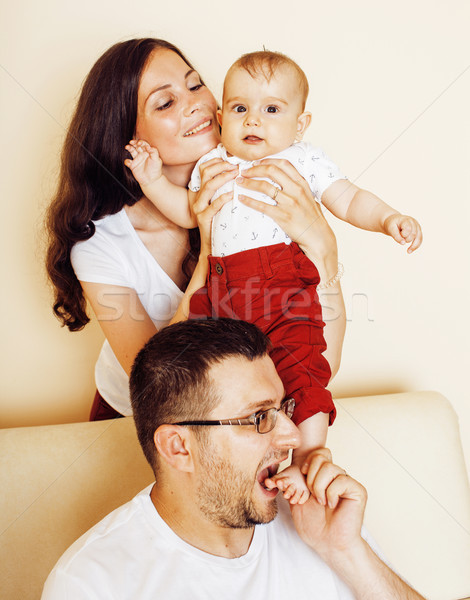 young happy modern family smiling together at home. lifestyle pe Stock photo © iordani
