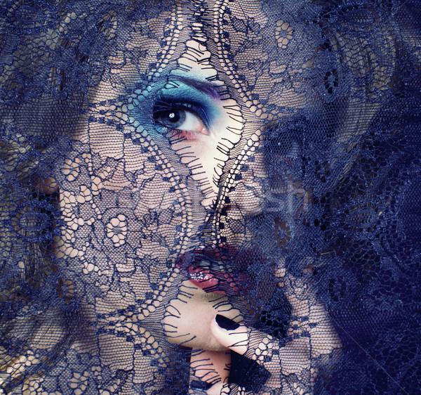 Portret piękna młoda kobieta koronki kobieta Zdjęcia stock © iordani