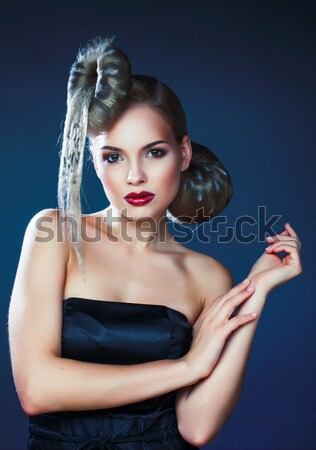 young elegant woman with creative hair style leopard print Stock photo © iordani