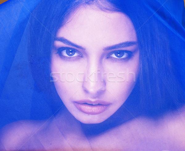 Güzellik genç kadın peçe başörtüsü Stok fotoğraf © iordani