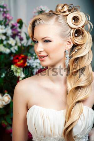 beauty young bride alone in luxury vintage interior with a lot of flowers close up Stock photo © iordani
