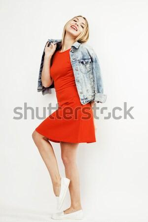 Jonge mooie blond haar vrouw gelukkig glimlachend Stockfoto © iordani