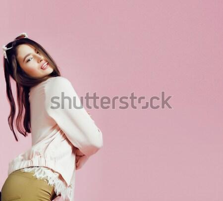 Сток-фото: молодые · Cute · дискотеку · девушки · розовый · улыбаясь
