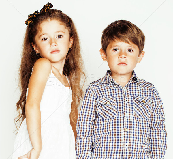 little cute boy girl hugging playing on white background, happy family close up isolated. brother an Stock photo © iordani
