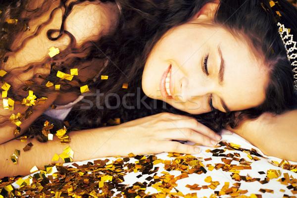 Beauté jeune fille or confettis tiare peu Photo stock © iordani