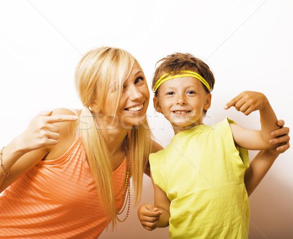 Funny matka syn Bańka guma Zdjęcia stock © iordani