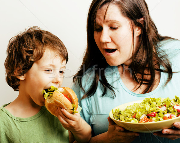Kövér nő tart saláta kicsi aranyos Stock fotó © iordani