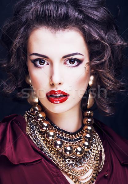 красоту богатых брюнетка женщину ювелирных Hispanic Сток-фото © iordani