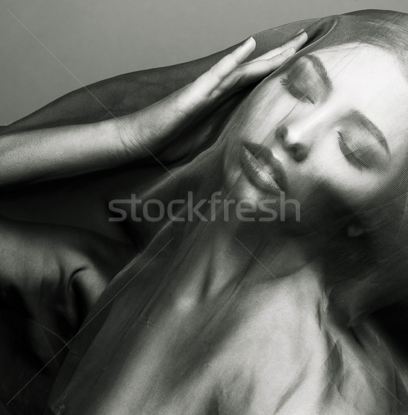 beauty young islamic woman under veil, hijab on face Stock photo © iordani
