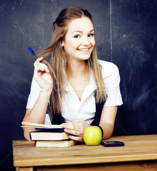 Portré boldog aranyos diák könyv osztályterem Stock fotó © iordani