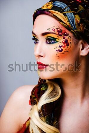 Portret tijdgenoot gezicht kunst creatieve sluiten Stockfoto © iordani