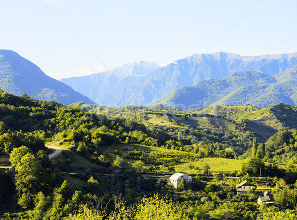 Photo stock: Belle · vue · village · montagnes · carte · postale