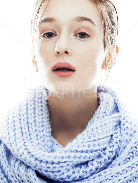 beauty young blond woman in scarf with weathered lips close up i Stock photo © iordani