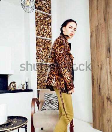 Joli élégant femme mode robe Leopard Photo stock © iordani
