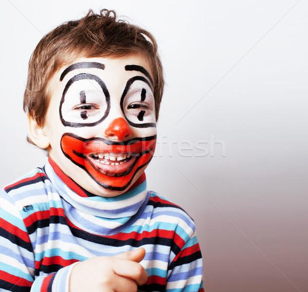 Pequeno bonitinho menino como palhaço real Foto stock © iordani