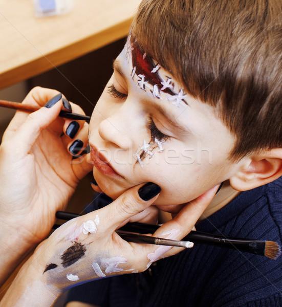 мало Cute ребенка празднование дня рождения зомби Сток-фото © iordani