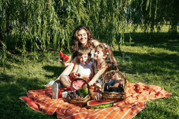 cute happy family on picnic laying on green grass mother and kid Stock photo © iordani