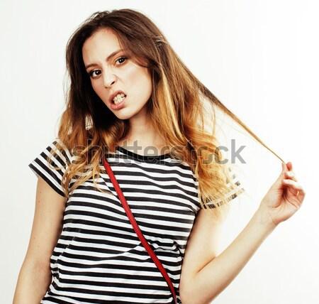 小さな かなり ブルネット 女性 ジーンズ ショートパンツ ストックフォト © iordani