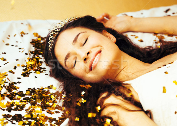beauty young girl in gold confetti and tiara, little princess celebration hpliday, lifestyle people  Stock photo © iordani